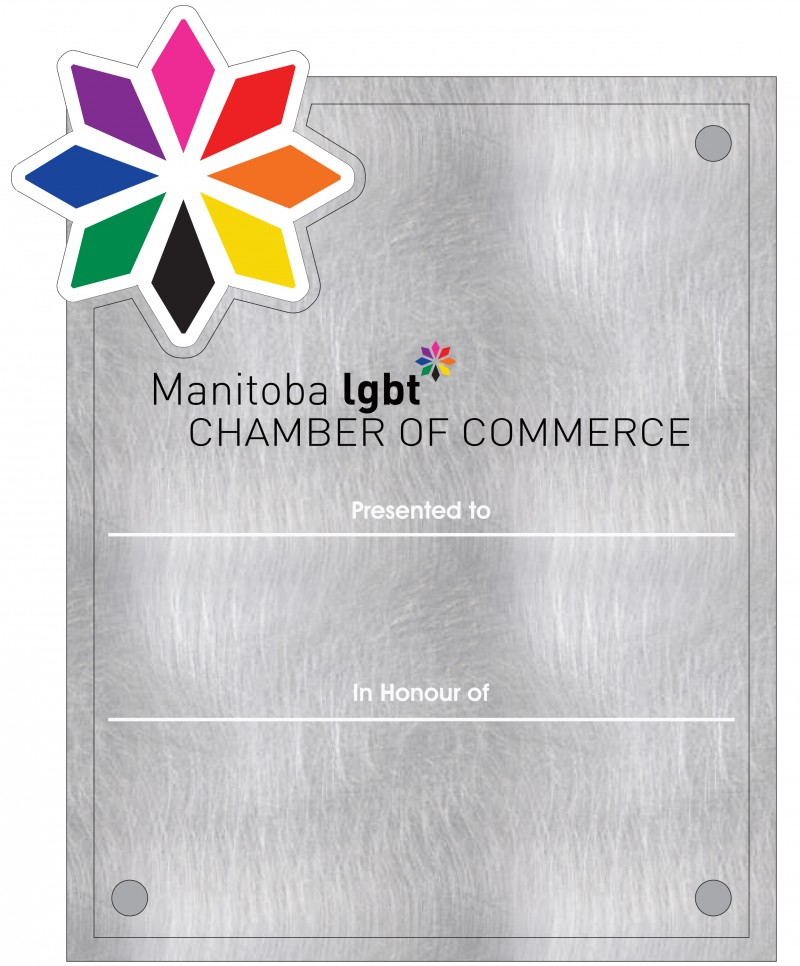 An image of the new Manitoba LGBT* Chamber Award Plaque